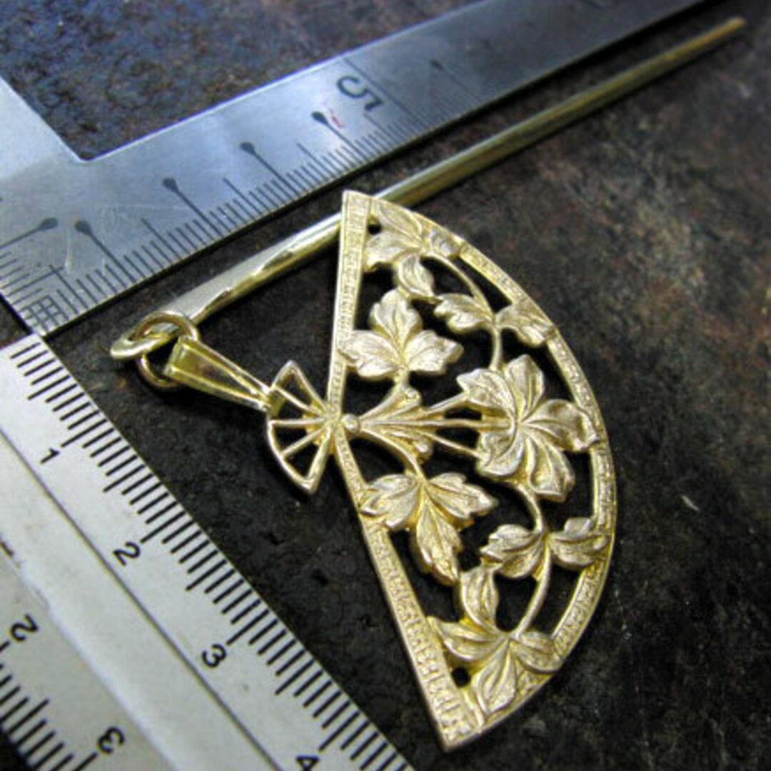 真鍮ブラス製 扇型簪/かんざし 着物や浴衣の髪飾りや帯飾り根付・ペンダントトップに