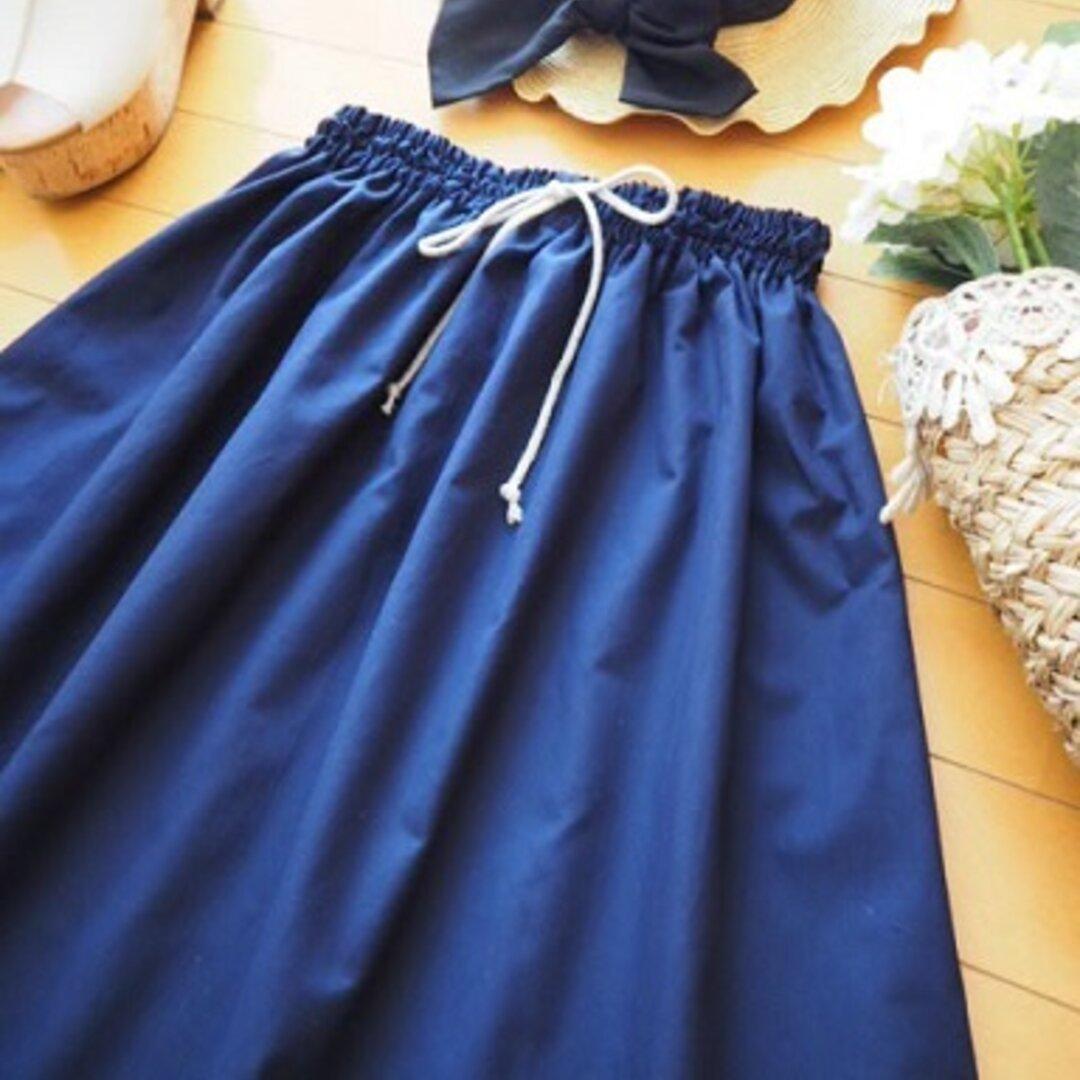 コットンリネンのシンプルギャザースカート☆フリーサイズ ネイビ
