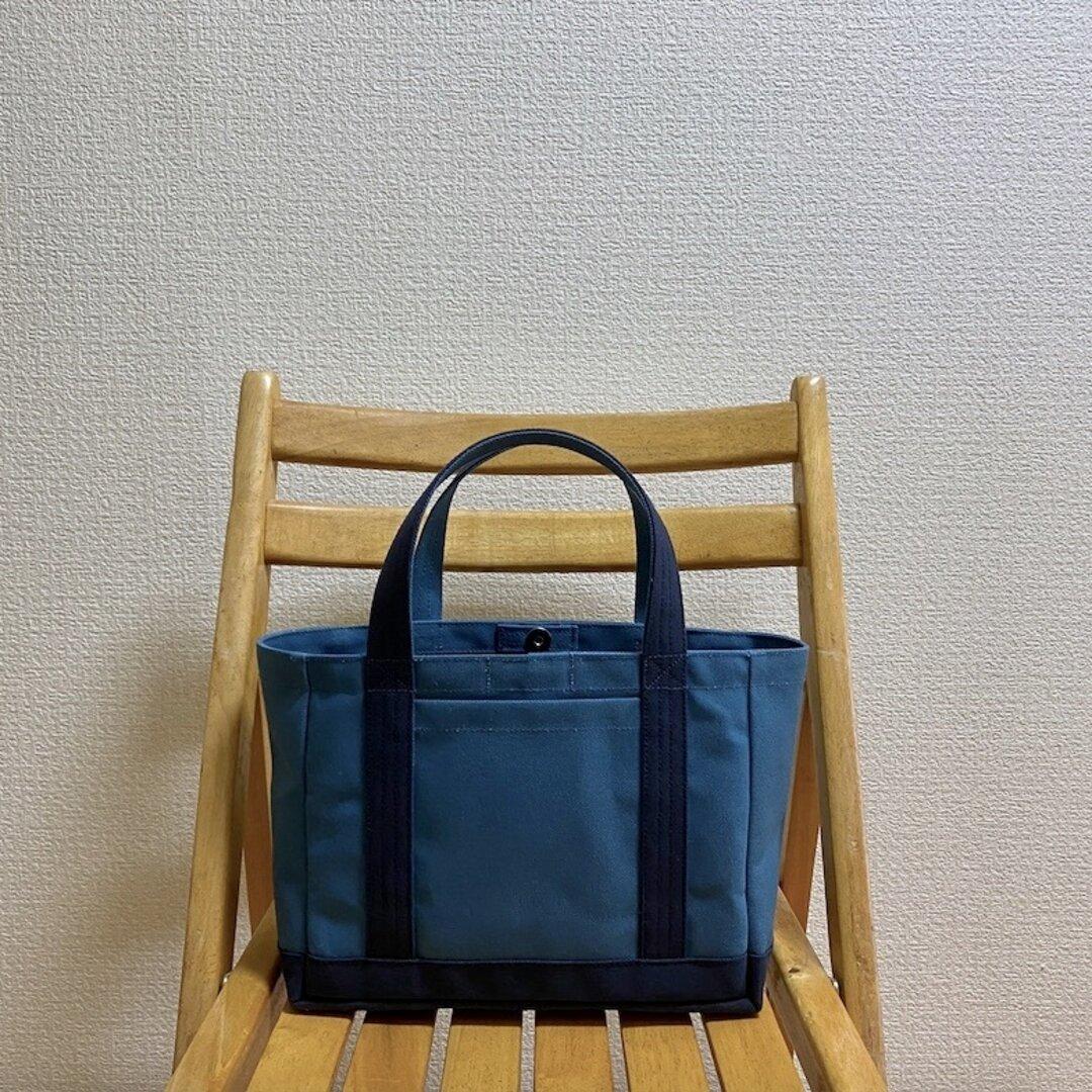 「軽いボックストート」小サイズ「ミネラルブルー×ネイビー(紺j」倉敷帆布8号【受注制作】