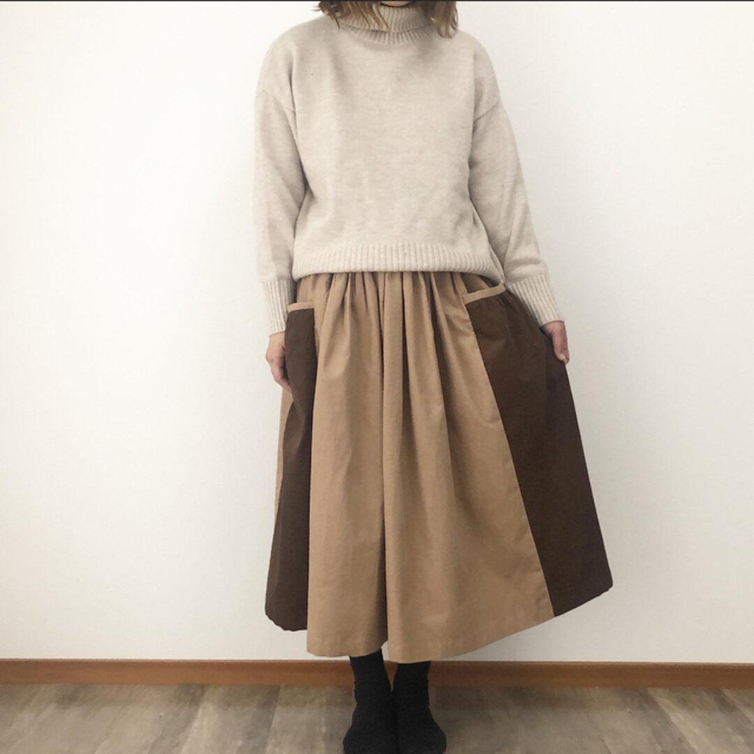 ピンクベージュ と ブラウン の ナチュラル かわいい ポケット パッチスカート