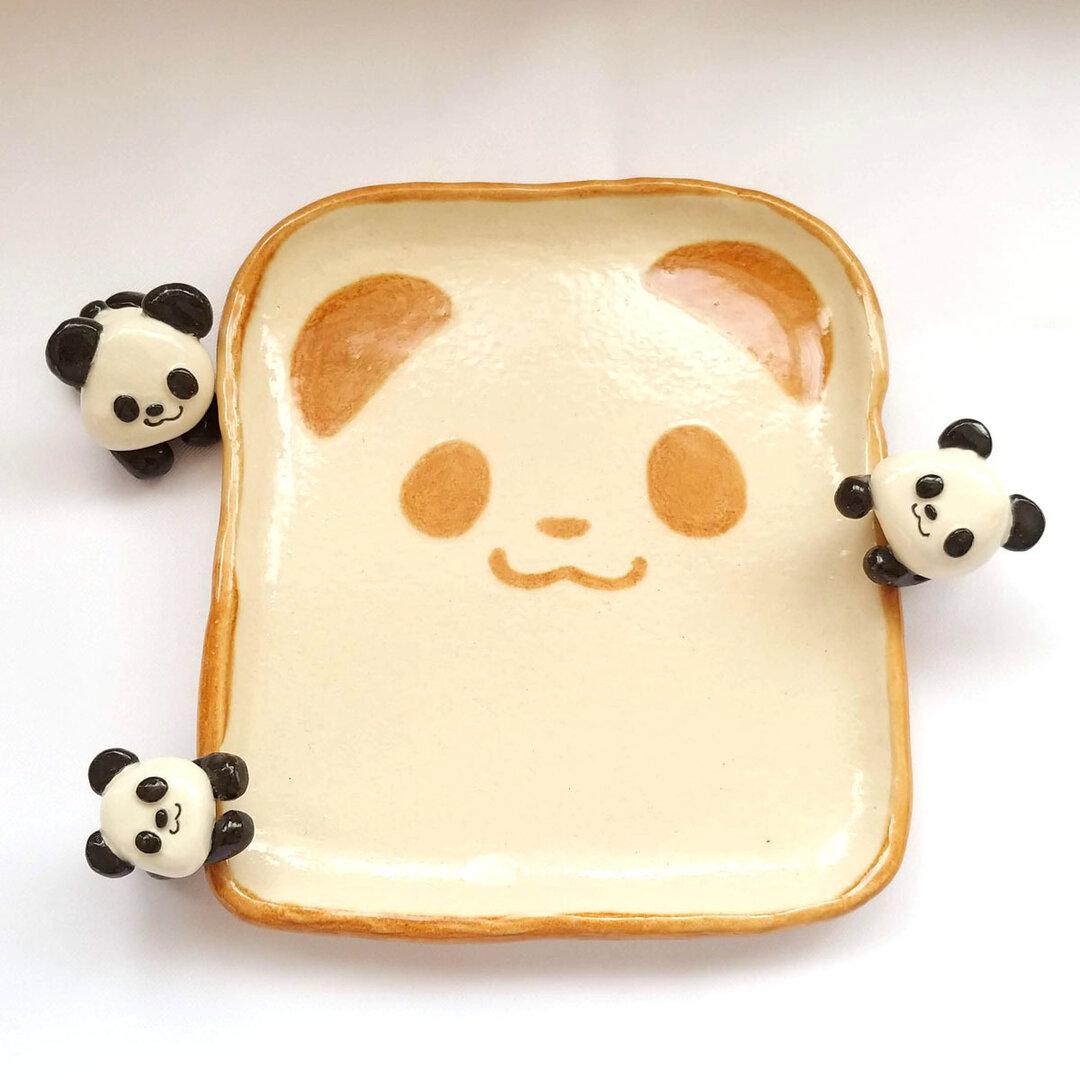 【 受注制作】 パンダの食パン皿 ★ 累計販売数100枚以上