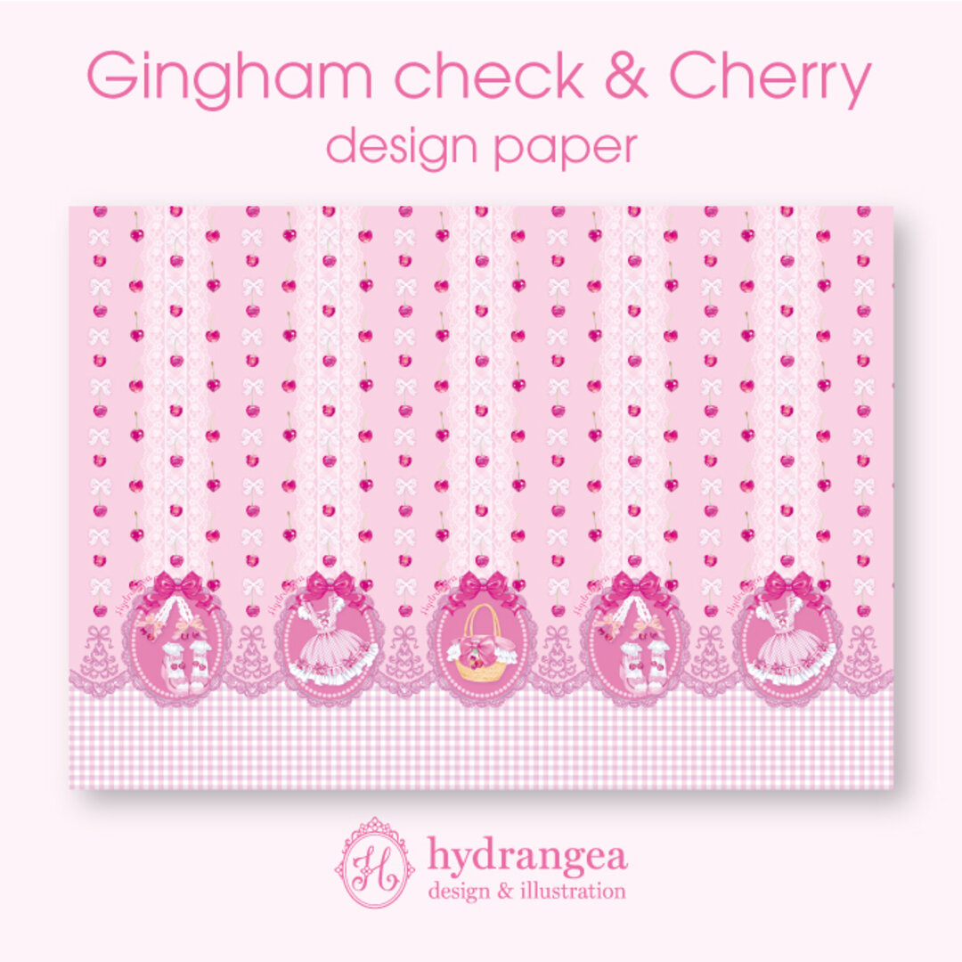 【Gingham check & Cherry-dress-】★上質紙 A4サイズ デザインペーパー