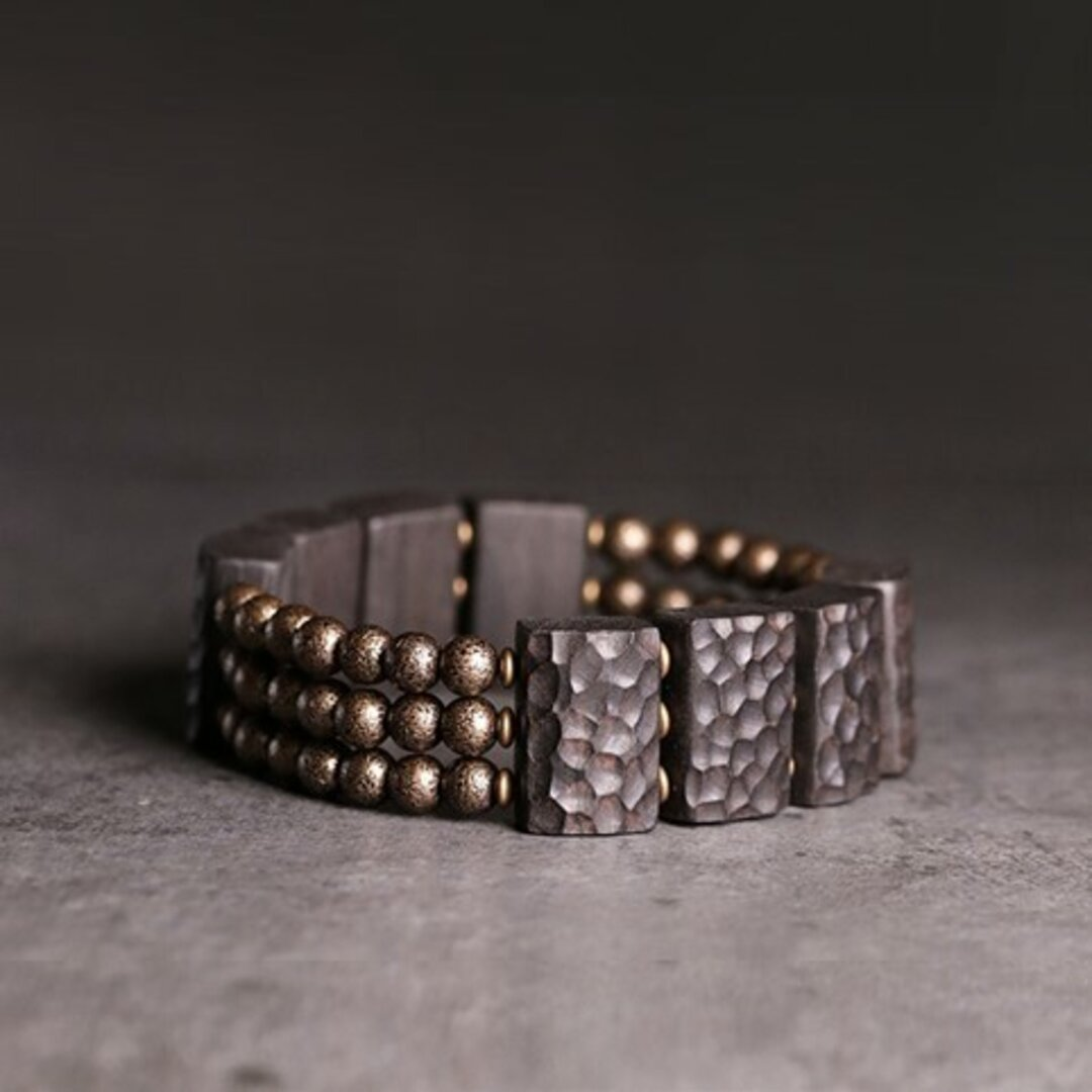 <受注制作>黒檀のブレスレット 真鍮 メンズ B030