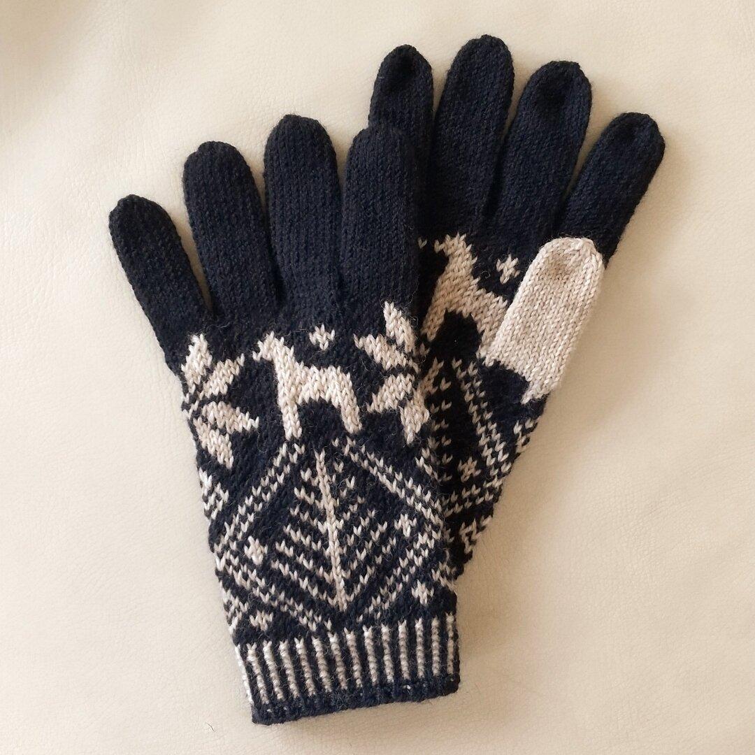 北欧柄の編み込み手袋(ダークネイビー)