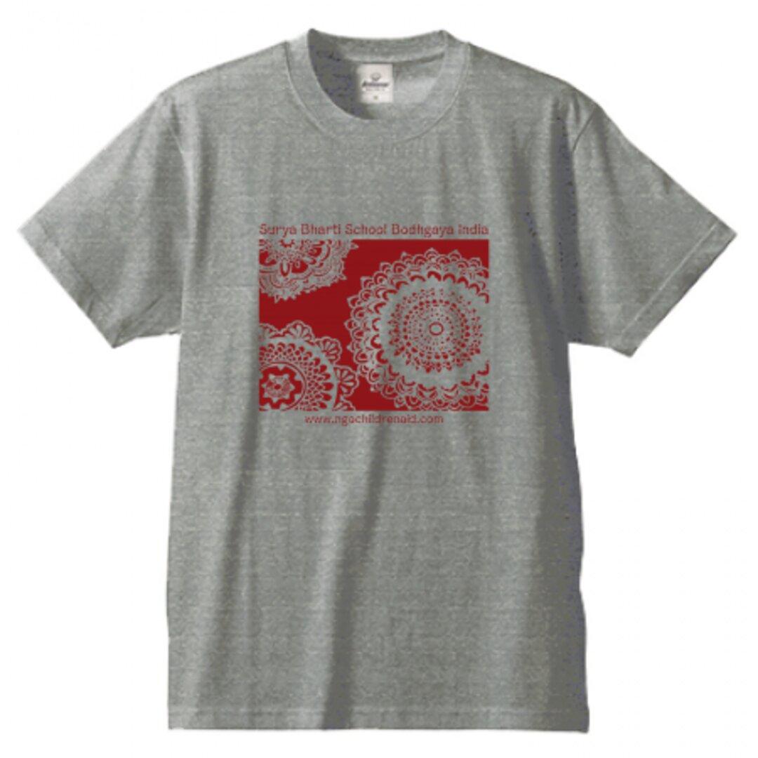 シワ二・クマーリちゃんデザイン「花」シルクスクリーン Tシャツ グレイ
