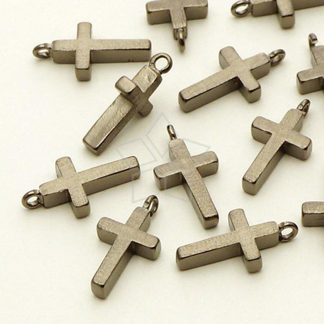 【2個入り】十字架チャーム、クリスチャン、クロスペンダント、キリスト、ブラック/ PD-645-BM