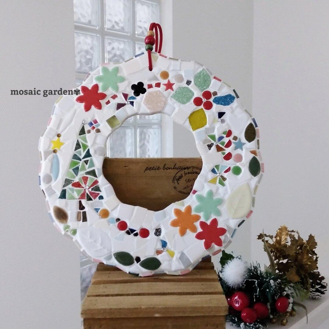 【受注制作】モザイクタイルのホワイトクリスマスリース2020