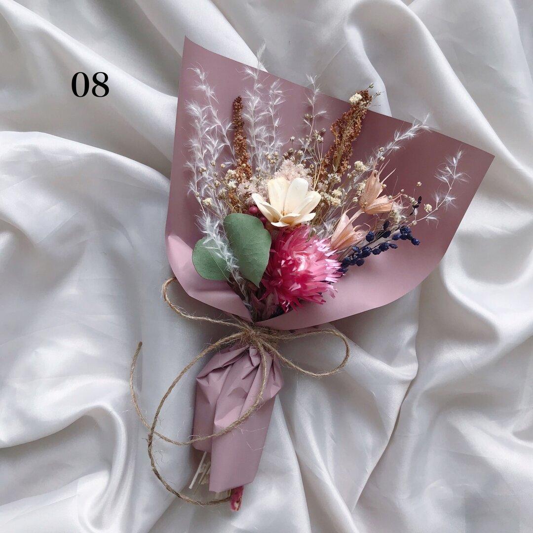 08【全12種】ミニブーケ 秋 ニュアンスカラー くすみカラー フラワーギフト プチギフト ドライフラワー
