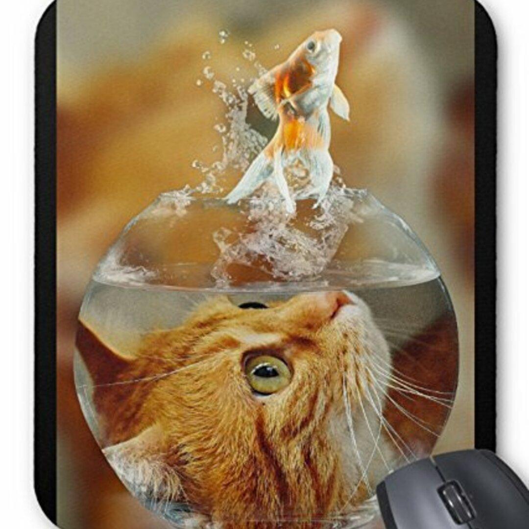 金魚を狙う猫のマウスパッド:フォトパッド(世界の猫シリーズ) (A)