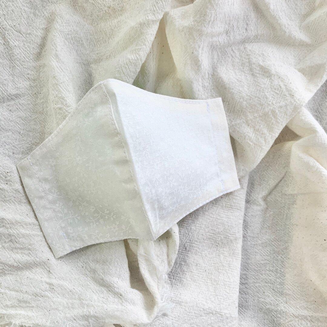 new! 夏用 接触冷感 【フラワープリント ホワイト】ひんやり 立体マスク インナーマスク フラワープリント マスクカバー キッズサイズ用 布マスク
