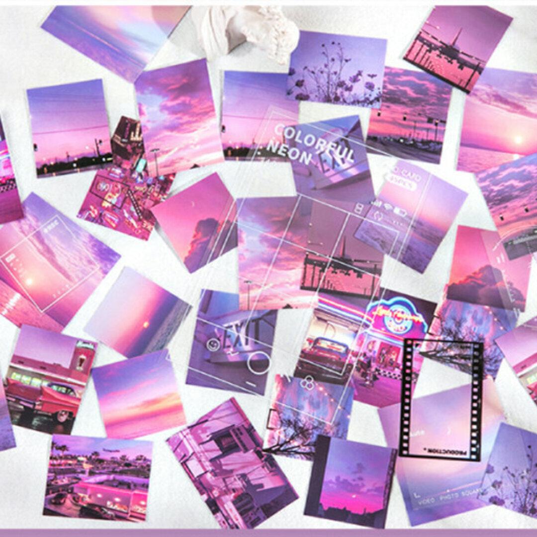 ins風 紫の街のフレークシール 45枚