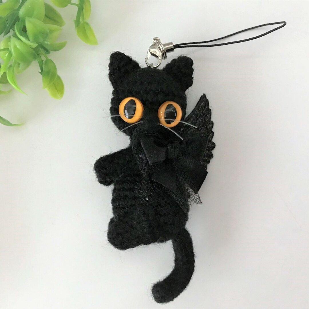 【送料無料】悪魔の黒猫♡あみぐるみストラップ