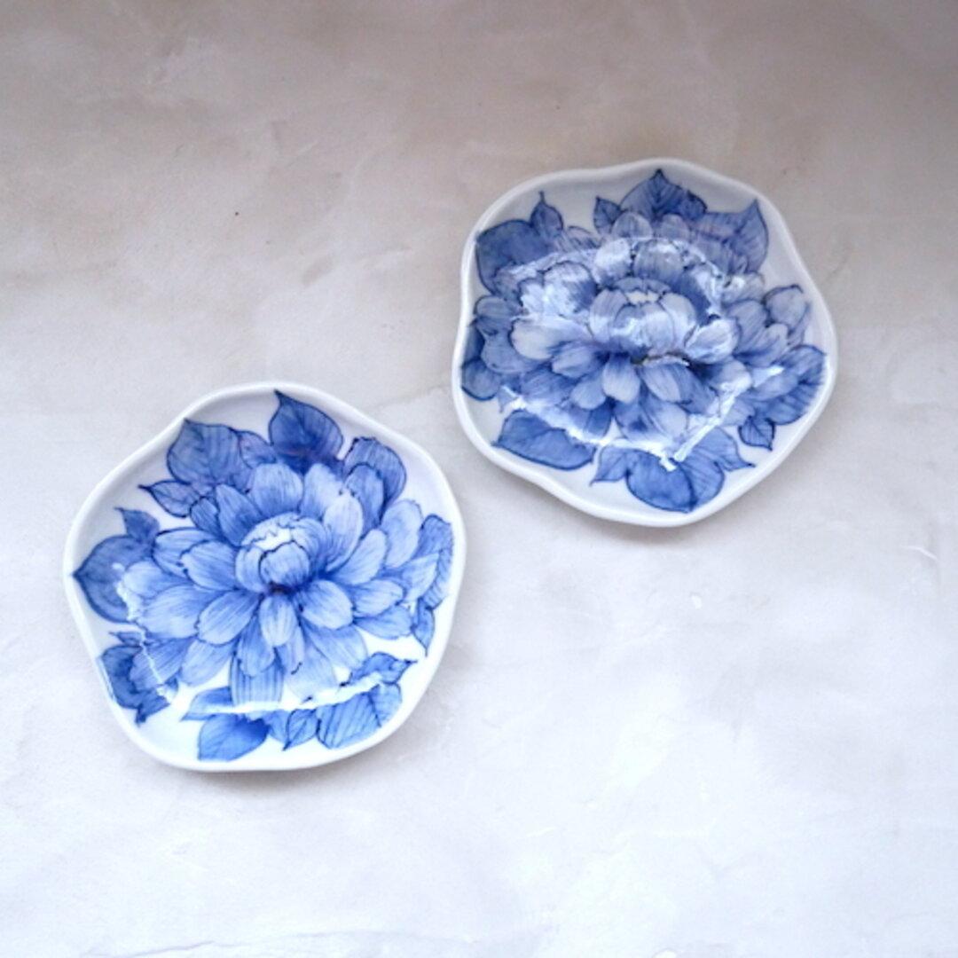 2枚セット 小皿 牡丹 和食器 九谷焼 器 うつわ 染付 青 ブルー no.037