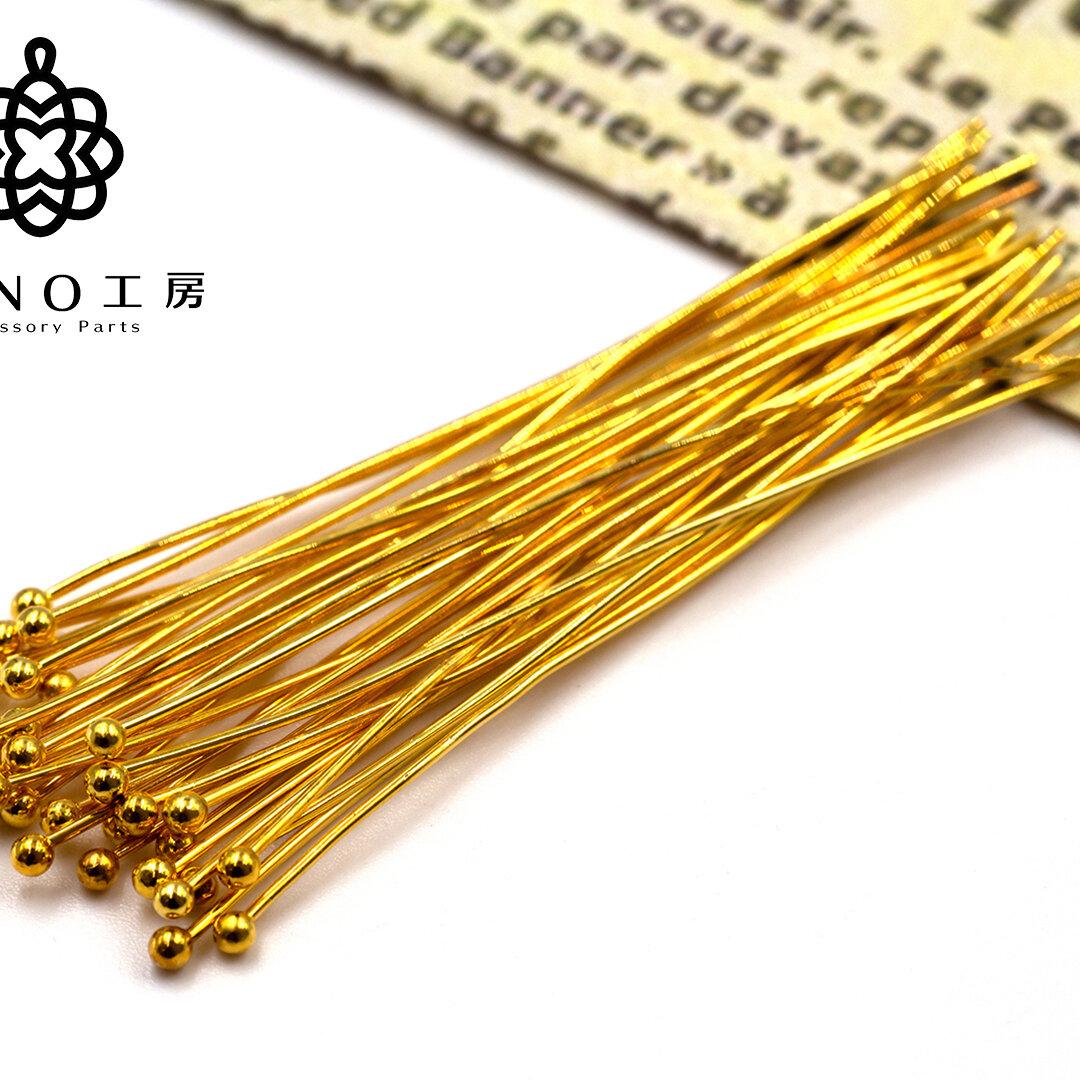 【pn-24】60mm 丸ピン ゴールド★200本★アクセサリーパーツ 素材 材料 9ピン Tピン 丸ピン