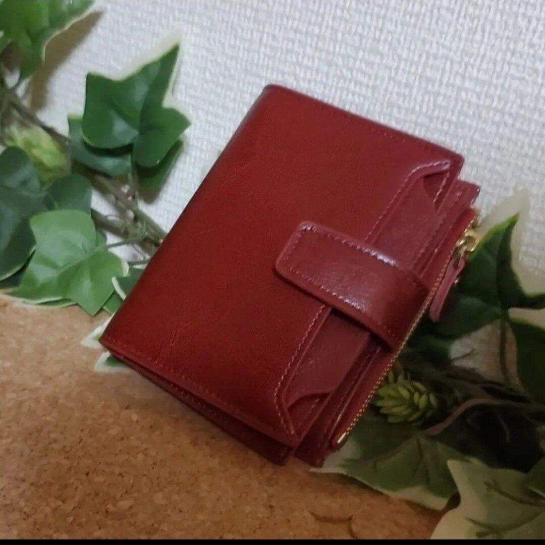 本革 高級 オイルレザー コンパクト 財布 大容量 小銭入れ カード18枚 ワインレッド 牛革