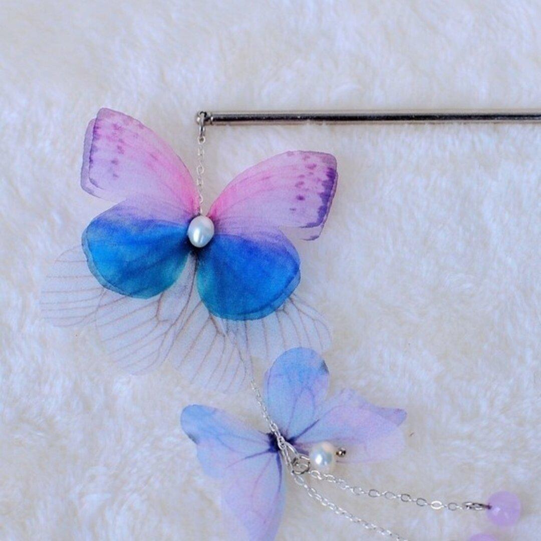 かんざし「蝶」(ピンク×青色)真珠 天然石 髪飾り