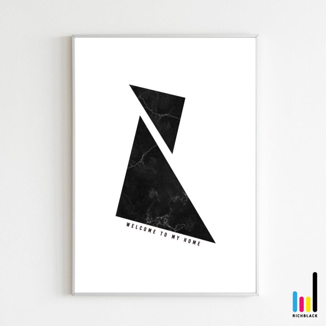 ウェルカム ポスター A1 玄関 サイン モノトーン モノクロ 白黒 北欧 黒大理石 大理石 大理石調 マーブル 雑貨 シンプル インテリア アート 幾何学模様 新築 新生活