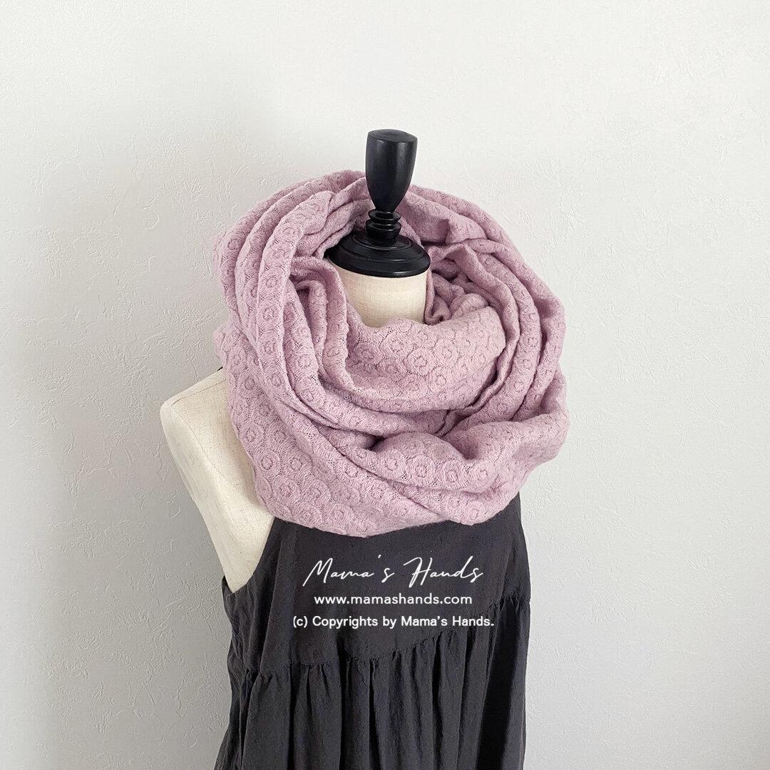 ★2点限定★ おしゃれな スイート ピンク 円形 刺繍織り 良品質 ボリューム スヌード♪