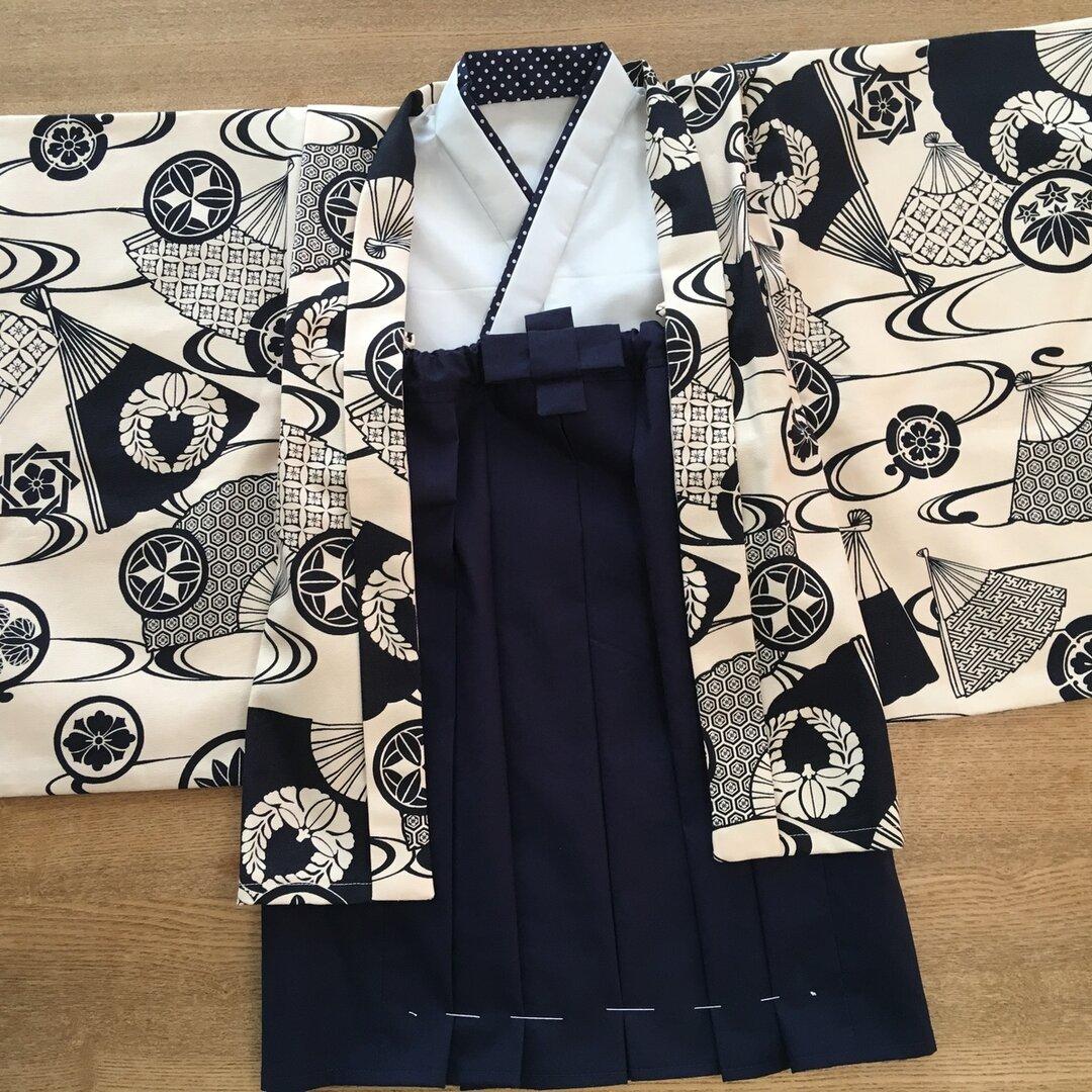 オーダー製作します 100cm 男の子 羽織&中着物&袴風ロングスカート 誕生日、七五三、お正月、結婚式に