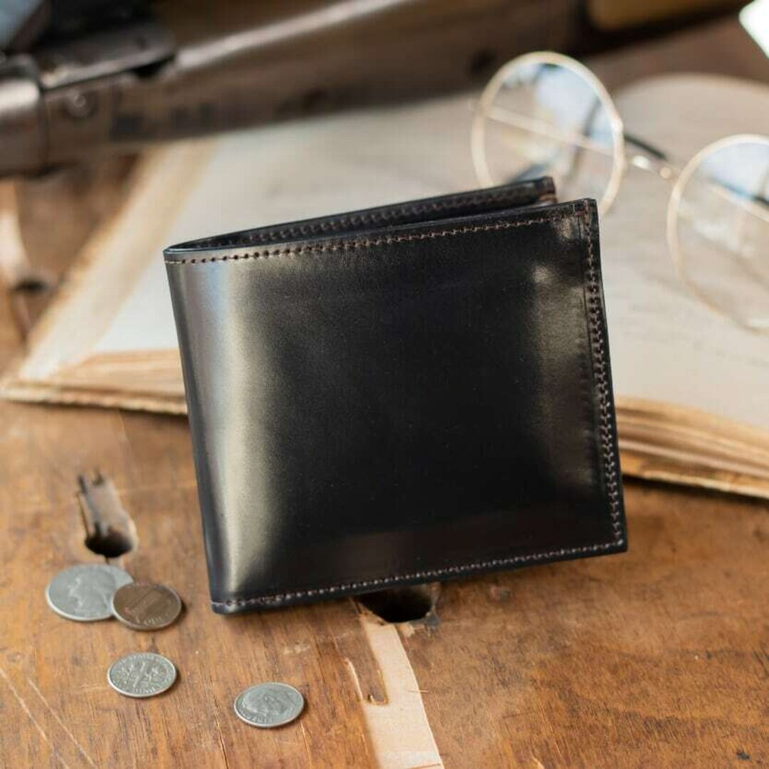 【永久無料保証】シェルコードバン「ホーウィン社製」二つ折り財布 Black-ブラック-