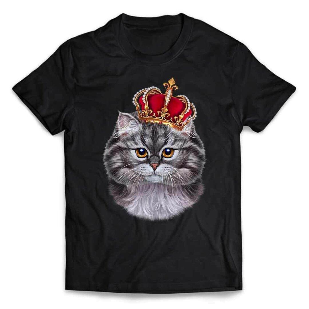 半袖Tシャツ 【グレー 猫 ねこ 王冠】 by FOX REPUBLIC