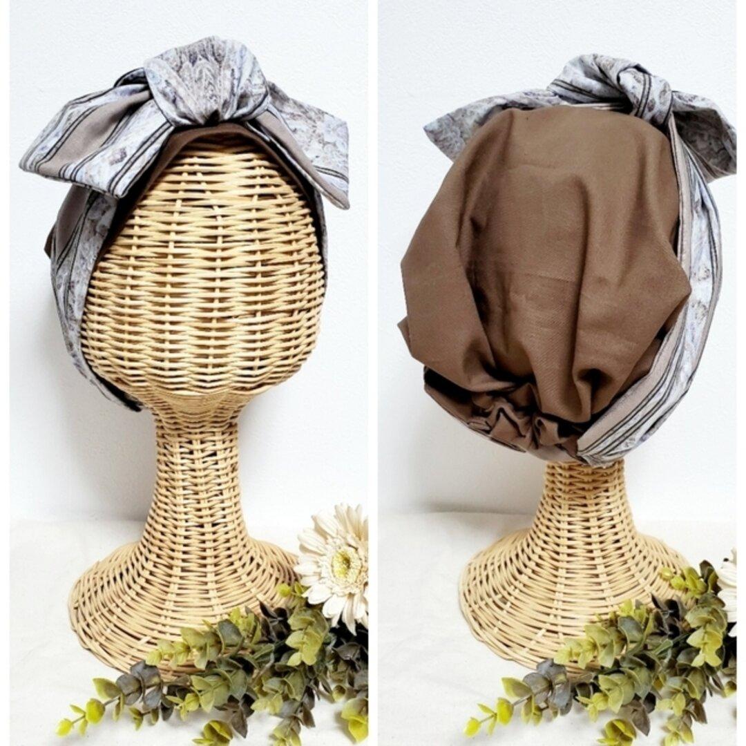 【ブラウン柄】 受注製作 帽子にもなるヘアターバン