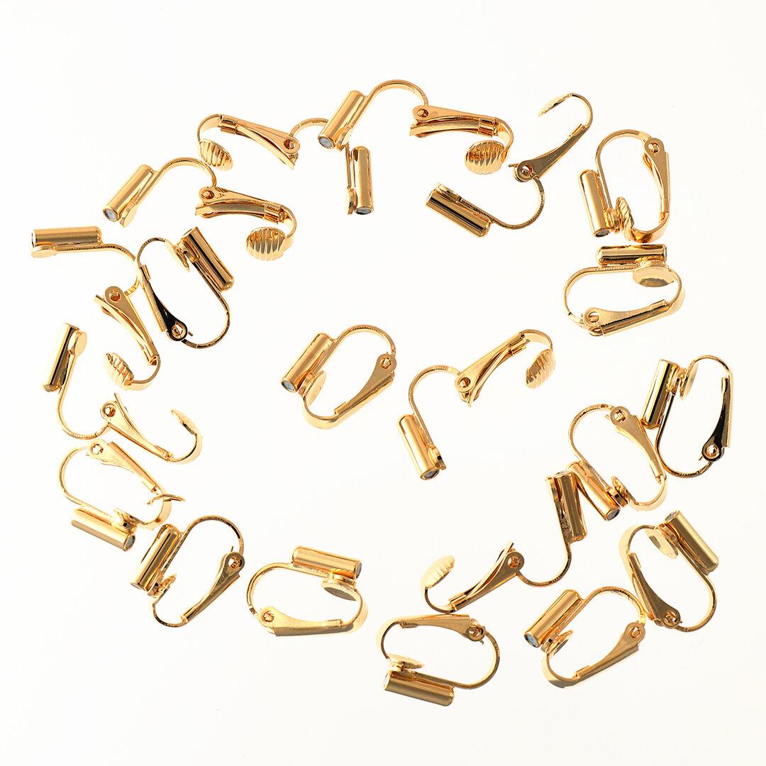 送料無料 イヤリングコンバーター 縦型 20個 クリップ式 18金メッキ 金属アレルギー対応 イヤリングパーツ イヤリング金具 アクセサリーパーツ  AP1606