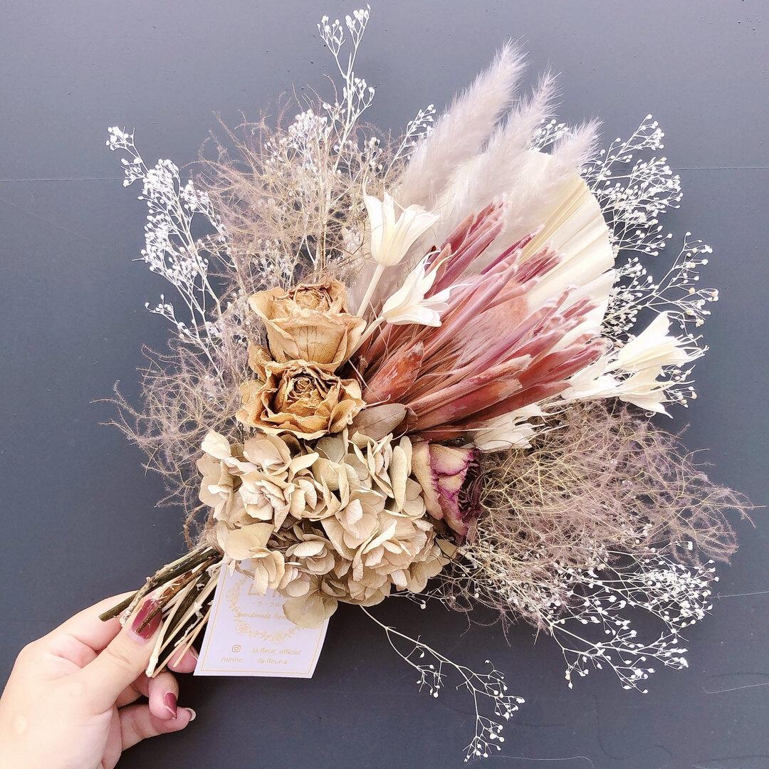 ドライフラワースワッグ*スモークツリーとプロティアくすみ色のお花たち