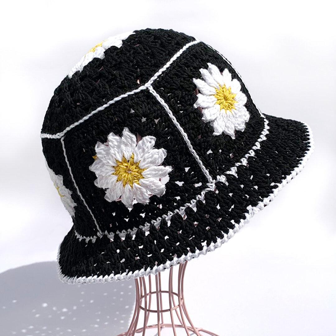 【クロシェハット】かぎ針編みのクロシェ お花のバケットハット ブラック
