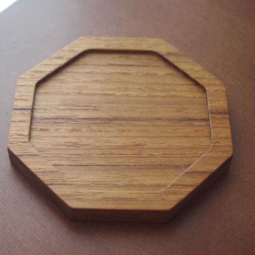 無垢材 チーク 八角形 コースター 木製 一枚