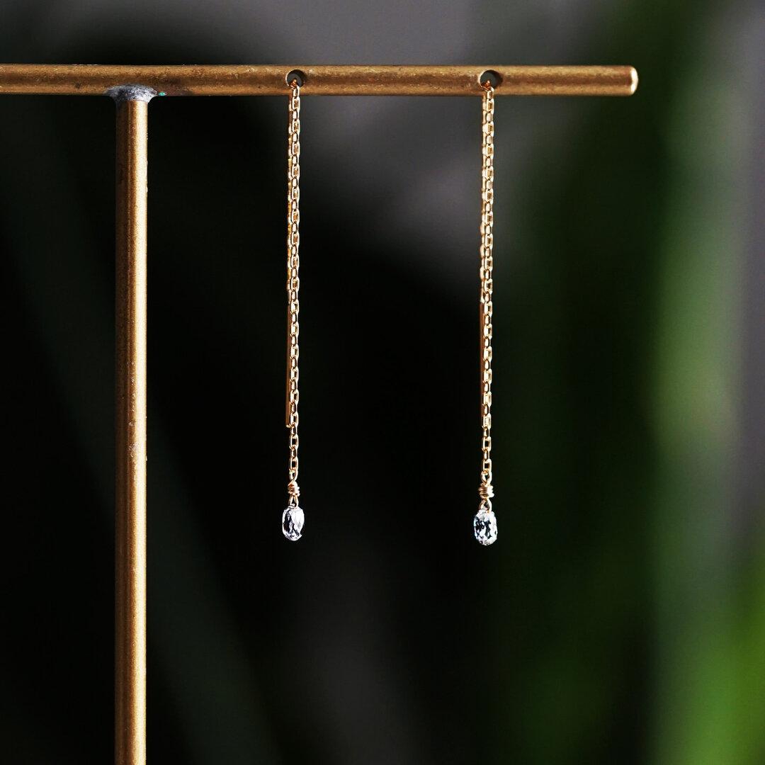 K18ダイヤモンドのブリオレットドロップカットロングピアス 〜Gabrielle