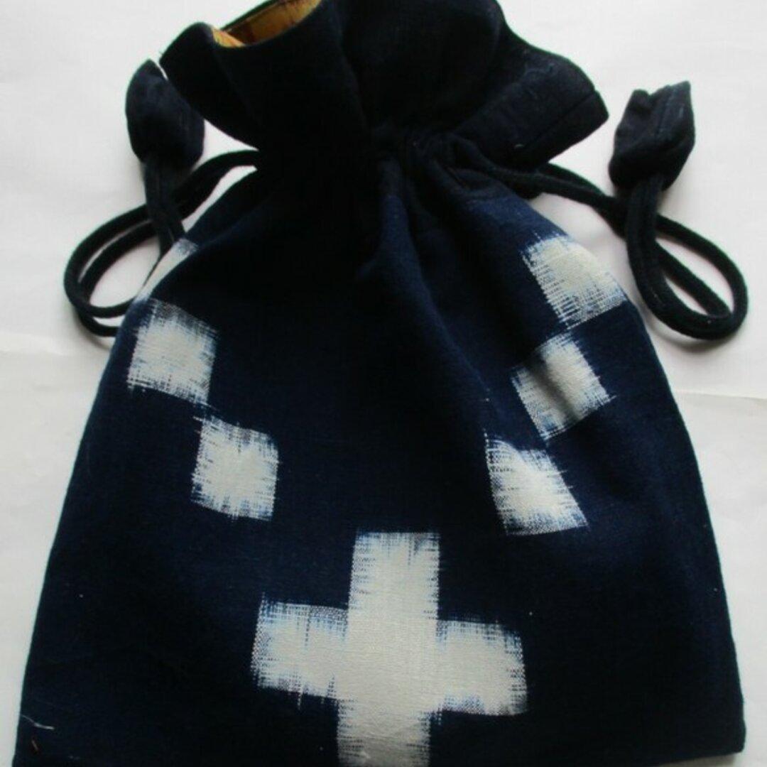 5831 久留米の絵絣で作った巾着袋 #送料無料