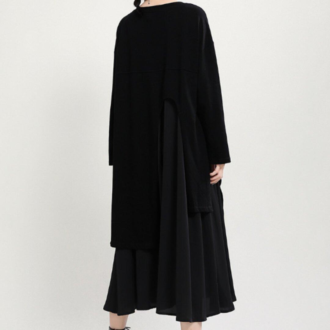 秋の新デザインセンス長袖Aラインスカート女性ビッグスカート裾フェイクツーピースワンピース女性