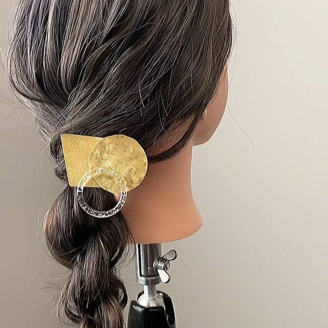 真鍮 台形&サークル槌目 ヘアクリップ