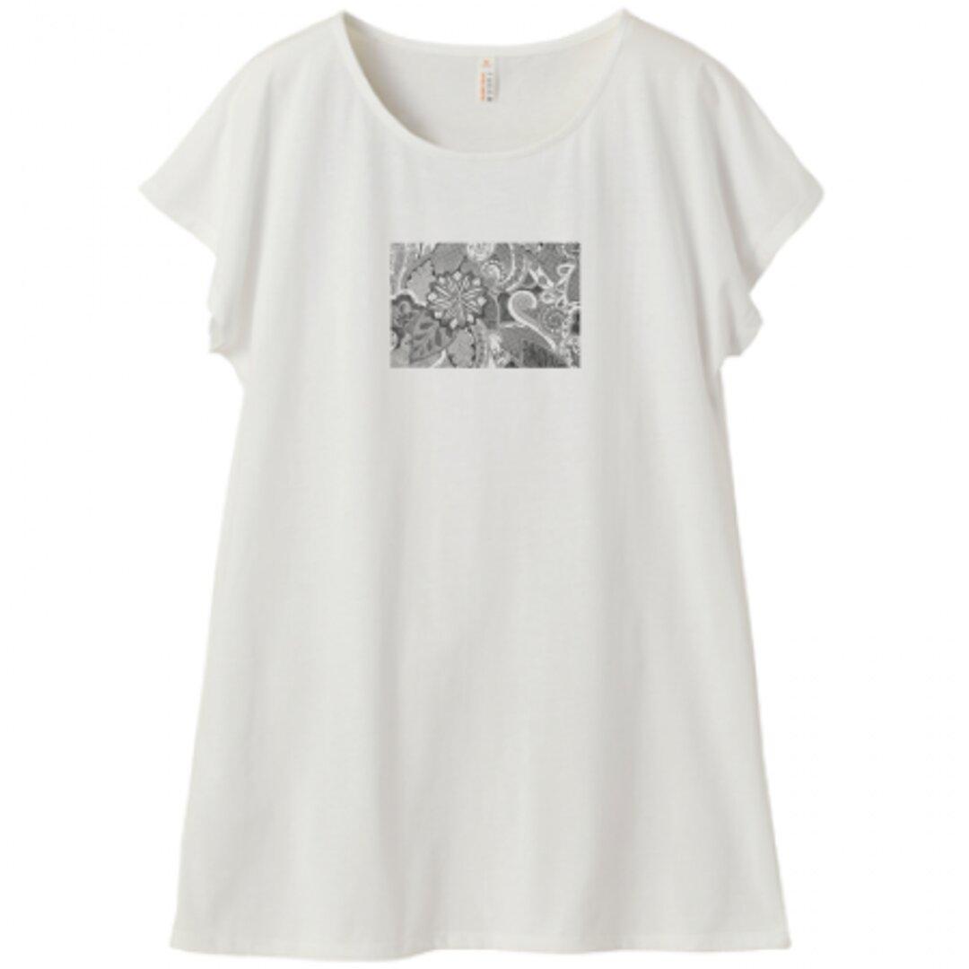 ディワーカル君デザイン「草と花」ミニ丈Tシャツワンピース・レディース(Mサイズ )バニラホワイト