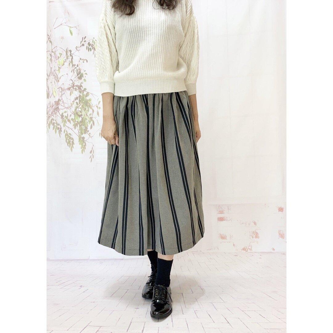 大人可愛いh*播州織のヘリンボーン&ストライプラインスカート [1745]