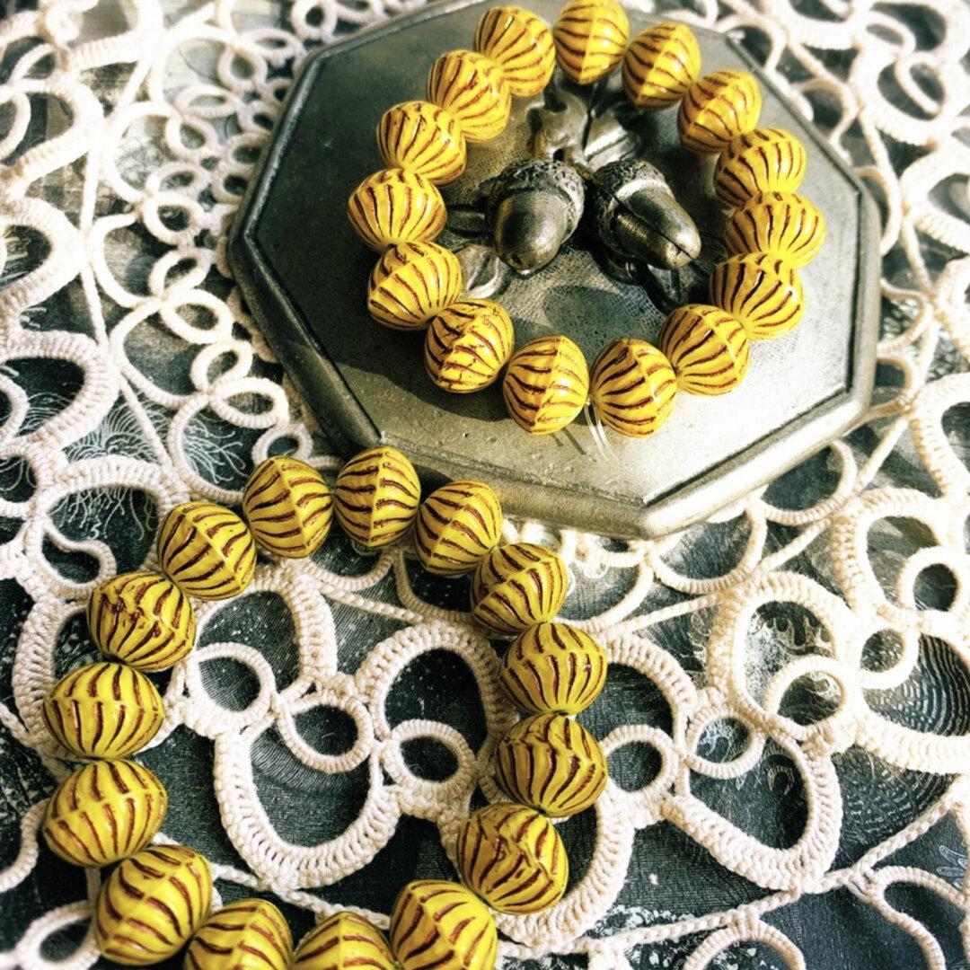 レア【1連15コセット】JIRI*IVANA#czech beads#チェコビーズbicone12✖️10㎜ yellow/copper