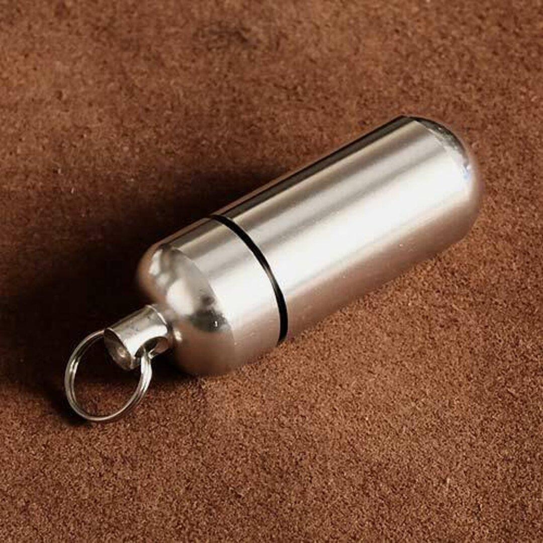 アルミ カプセルケース(シルバー Mサイズ) ミニサイズ 小さい 銀色 小物入れ ピルケース 防水ケース キーチェーン ハンドクラフト