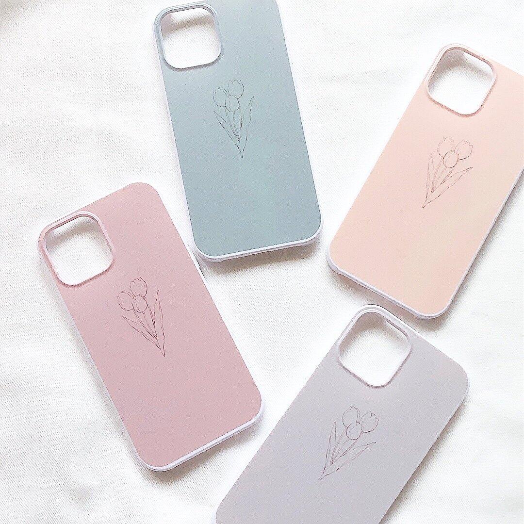 【多機種対応】iPhoneケース スマホケース 韓国 iPhone12 ニュアンスカラー 4色 くすみカラー くすみピンク