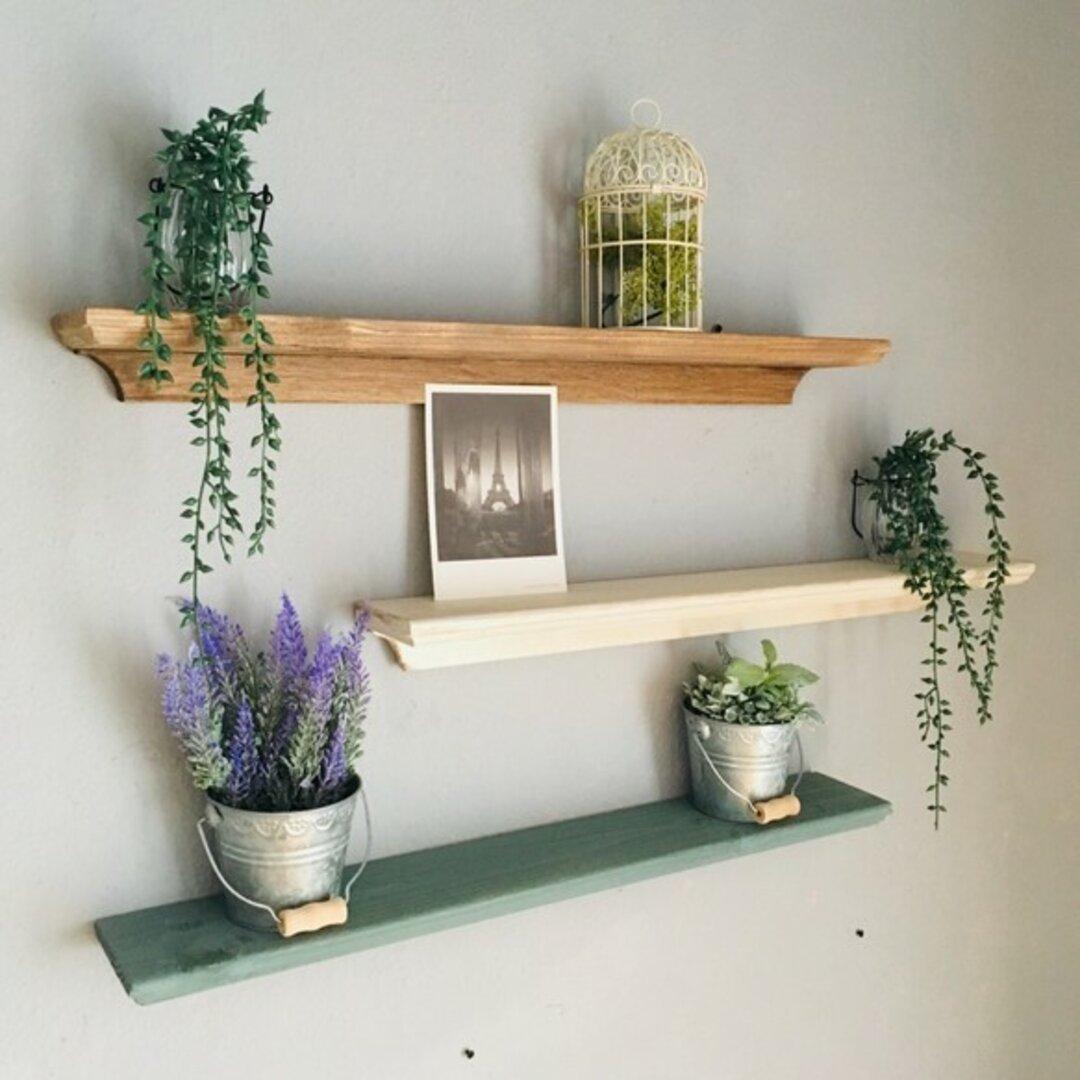 画鋲で壁につける家具 アンティーク ウォールシェルフ 木製 壁掛け棚 60cm ディスプレイ