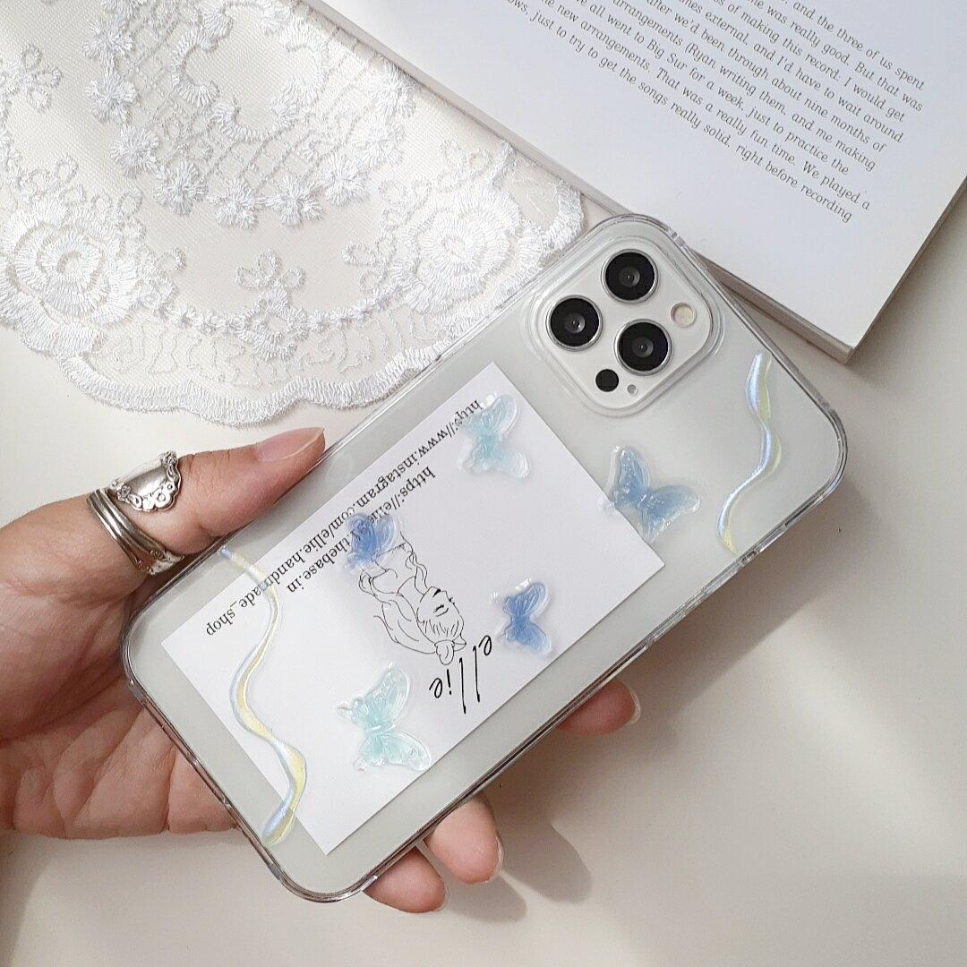 バタフライiPhoneケース アクアブルー