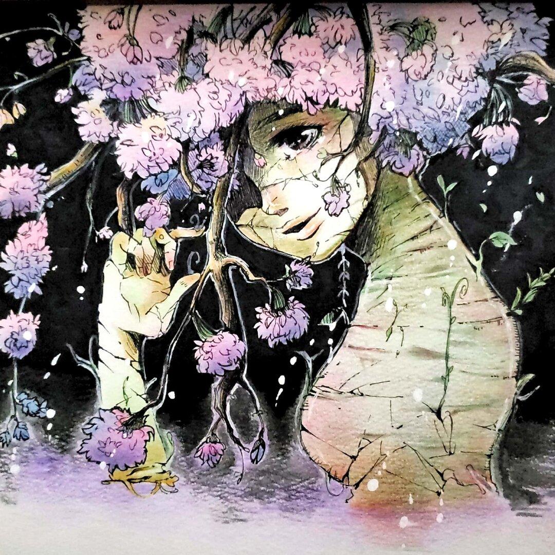 夜桜(ボールペン+色鉛筆)