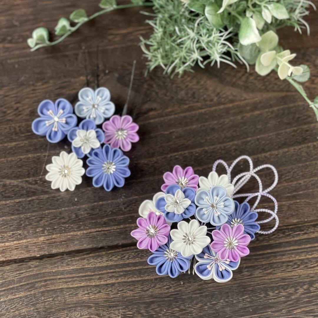 青紫色の髪飾り つまみ細工(紫、青紫、白)