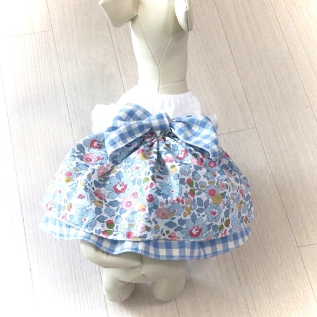 犬服 ふんわりお花のワンピース リバティベッツィ   ブルーグレー 犬の服 犬ワンピース