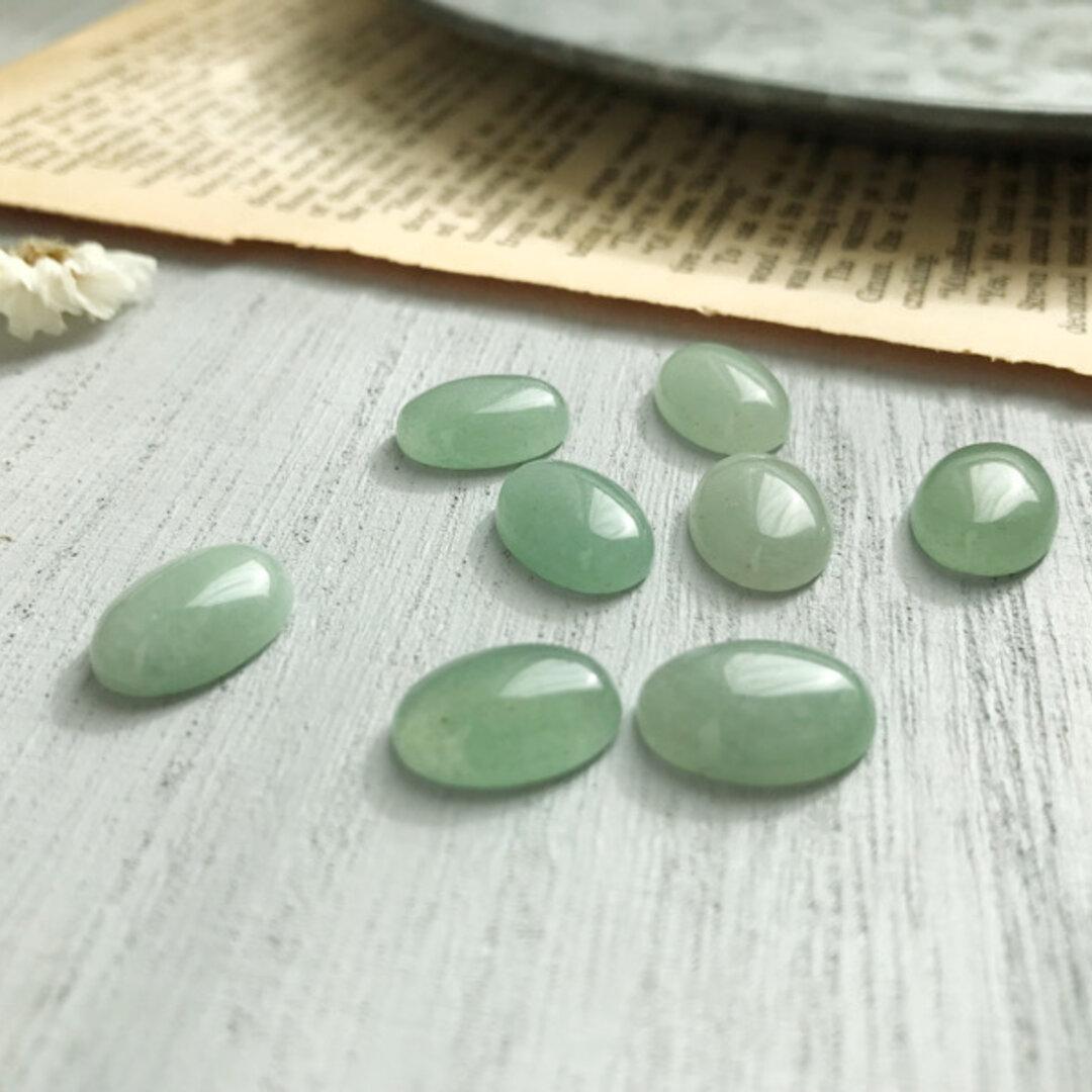 【4個】天然石グリーンアベンチュリン♡カボション《オーバル》B131