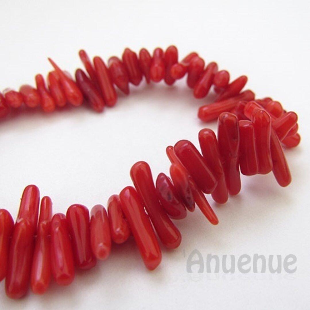 サンゴビーズ【Red Coral / Irregular Column】30個