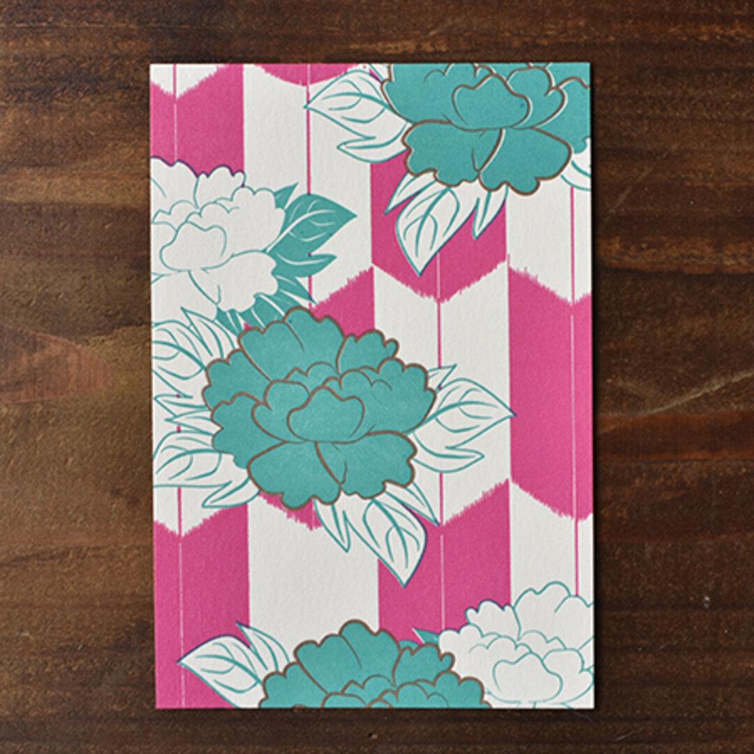 牡丹矢絣(ぼたんやがすり) なかべに色 ポストカード