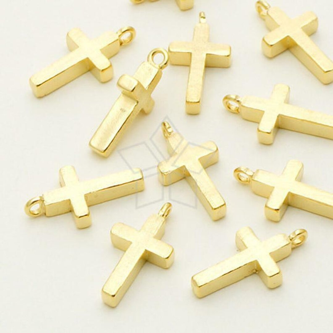 【2個入り】十字架チャーム、クリスチャン、クロスペンダント、キリスト、ゴールド/ PD-643-GD