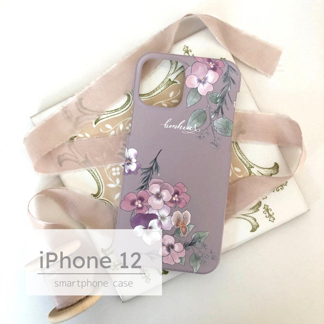 iPhone12用ハードケース パンジー×グレージュ