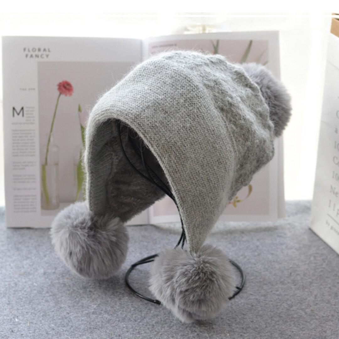 〖新作〗ふんわり 手編み 耳当て付きニット帽 レディース 帽子